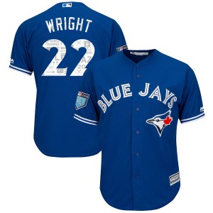 Youth Majestic Toronto Blue Jays Brett Wright Authentic Royal Cool Base 2018 Spring Training Jersey