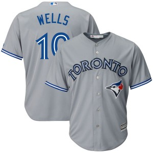 Youth Majestic Toronto Blue Jays Vernon Wells Replica Gray Cool Base Road Jersey